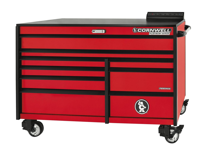 """CTSPLR679KMR - PLATINUM™ 67"""" 9-Drawer Double Bank Cabinet, Matte Red"""