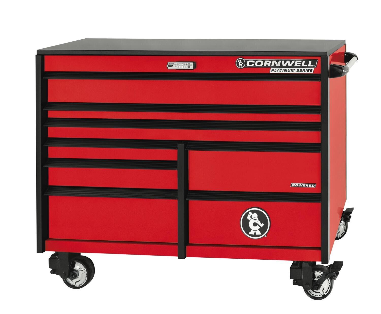"""CTSPLR568KMR - PLATINUM™ 56"""" 8-Drawer Double Bank Cabinet, Matte Red"""