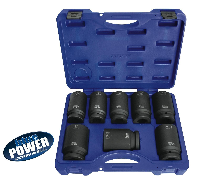 """CBPI68LST - 8 Piece 1"""" Drive bluePOWER® SAE Deep Power Socket Set"""