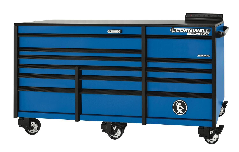 "CTSPLR8414KB - PLATINUM™ 84"" 14-Drawer Triple Bank Cabinet, Corporate Blue"