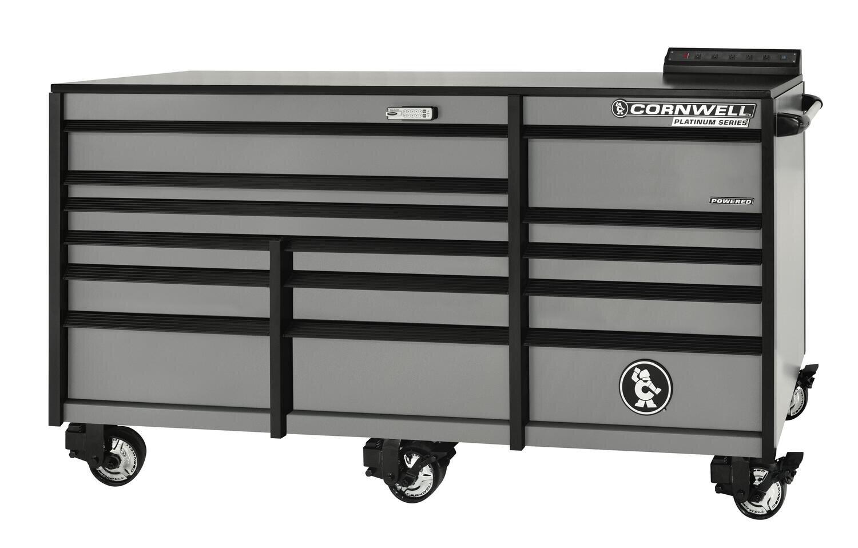 "CTSPLR8414KMS - PLATINUM™ 84"" 14 Drawer Triple Bank Cabinet, Matte Silver Gray"