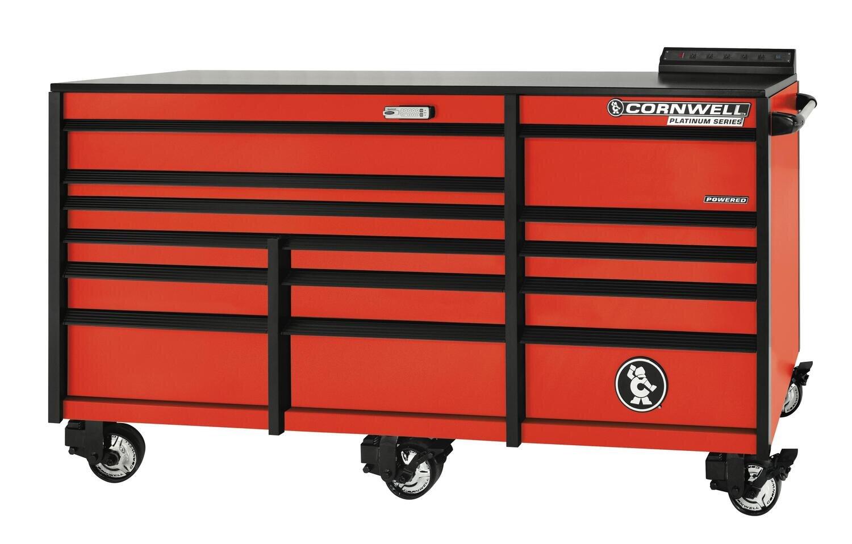 """CTSPLR8414KA - PLATINUM™ 84"""" 14-Drawer Triple Bank Cabinet, Atomic Orange"""