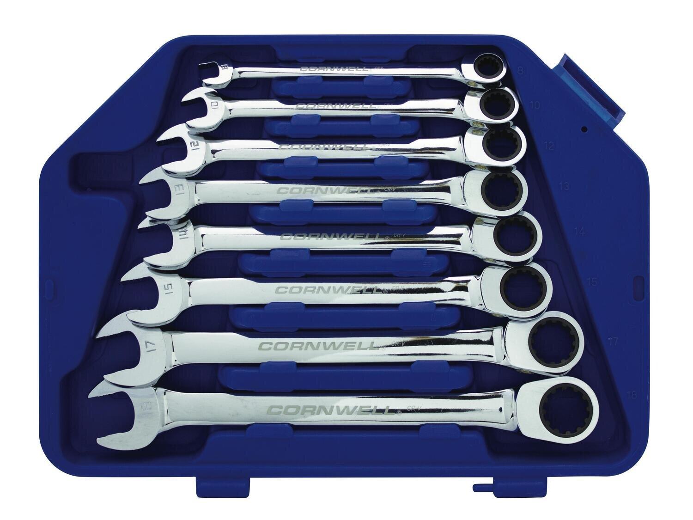 CRW8MSA - 8 Piece Metric Ratcheting Combination Box Wrench Set
