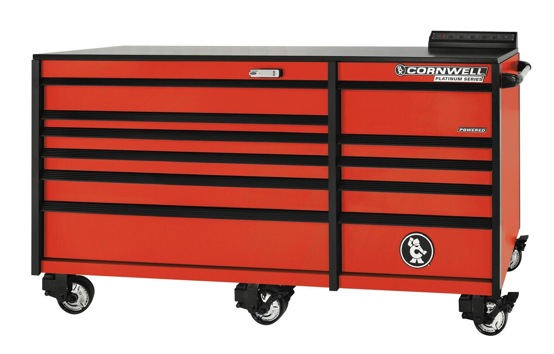 """CTSPLR8411KA - PLATINUM™ 84"""" 11 Drawer Double Bank Cabinet, Atomic Orange"""