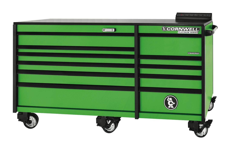 "CTSPLR8411KG - PLATINUM™ 84"" 11 Drawer Double Bank Cabinet, Neon Green"