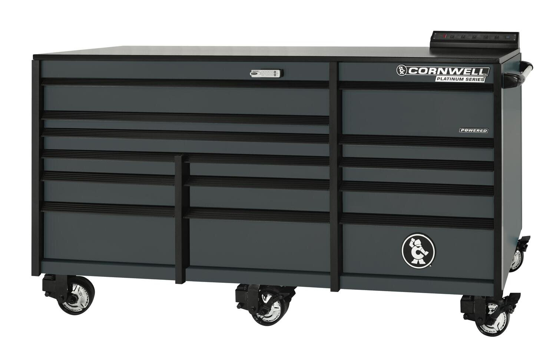 "CTSPLR8414KF - PLATINUM™ 84"" 14-Drawer Triple Bank Cabinet, Graphite"