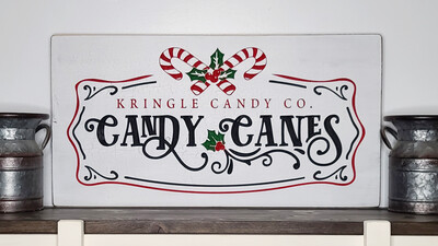 Kringle Candy Co. Candy Canes Wooden Sign