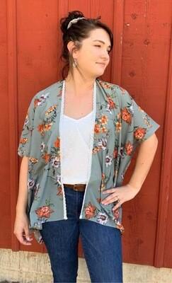 Olive Floral Lace Kimono