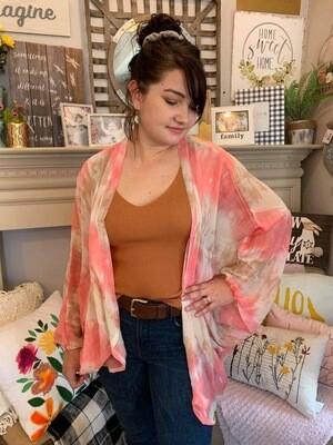 Tie Dye Kimono Pink & Tan