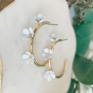 Flower Hoop Earrings