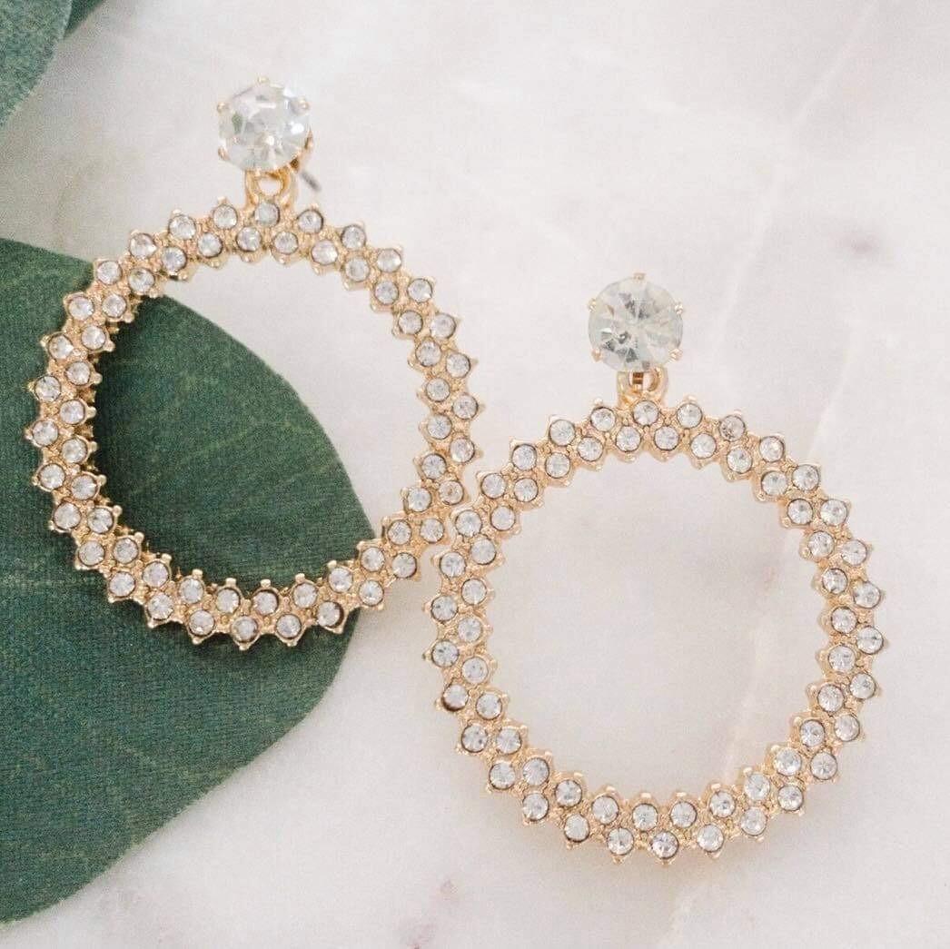 Diamond Circle Statement Earrings