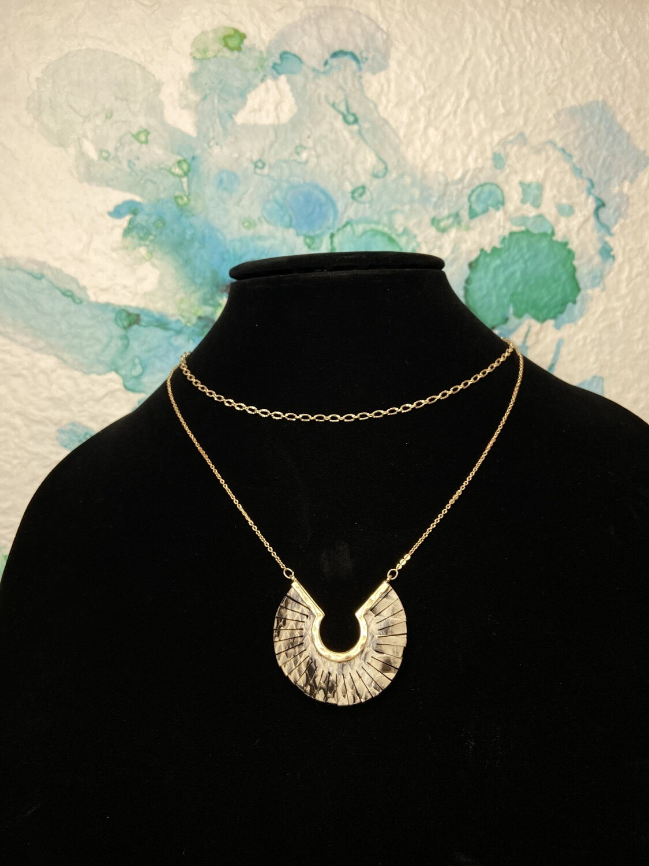 Snake Print Long Necklace