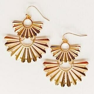 Double Fan Gold Earring