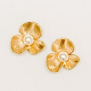Gold Flower with Pearl Stud