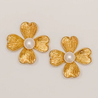 Gold Pearl Flower Stud