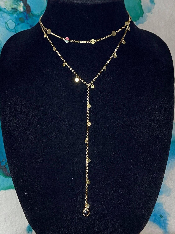 Black & Grey Y Necklace