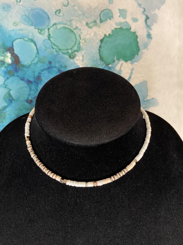 White Disc Bead Collar Necklace