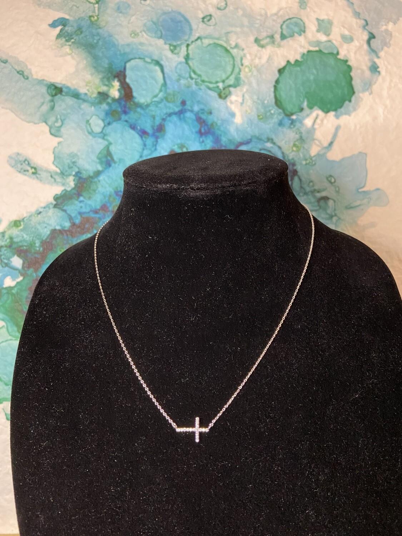 Cross CZ Dainty Necklace