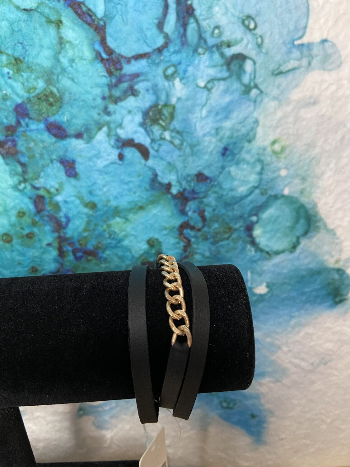 Leather Magnetic Bracelet With Chain