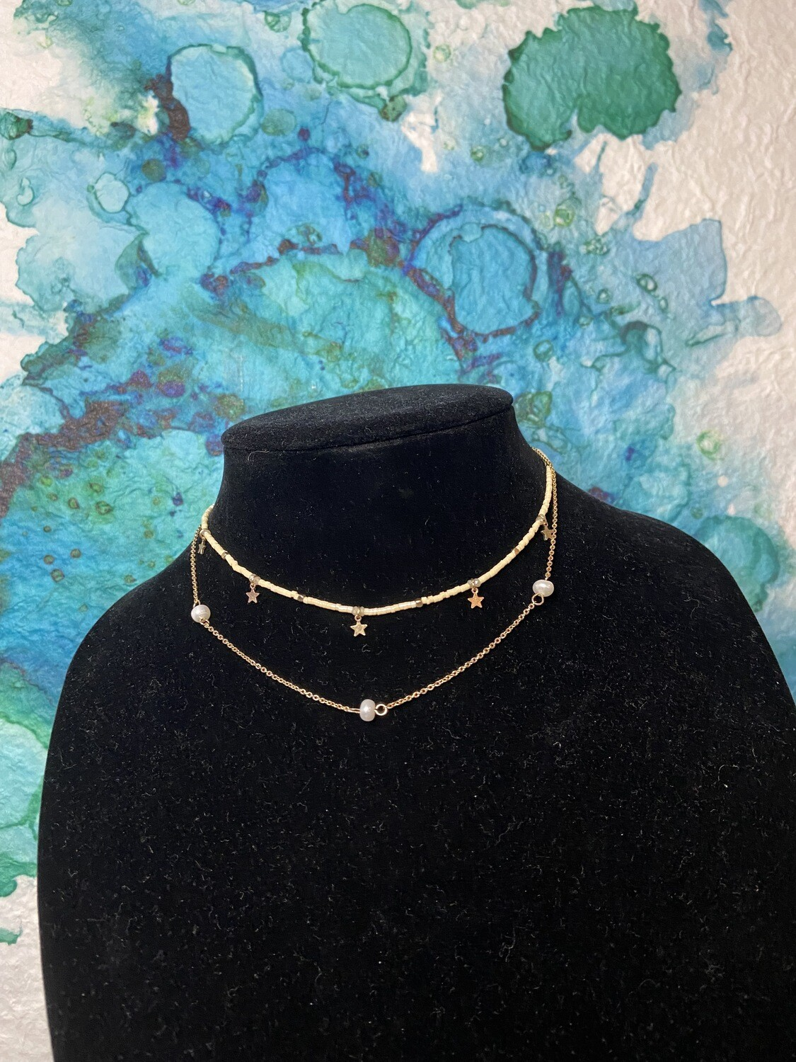 Pearl and Stars Collar Necklace
