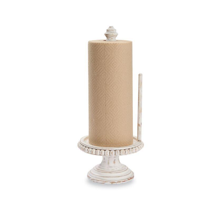 White Wash Beaded Paper Towel Holder
