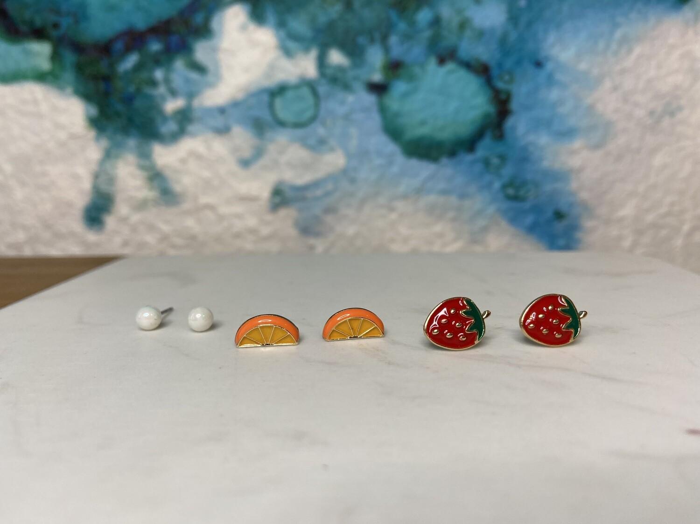 Strawberry/Orange Stud Set