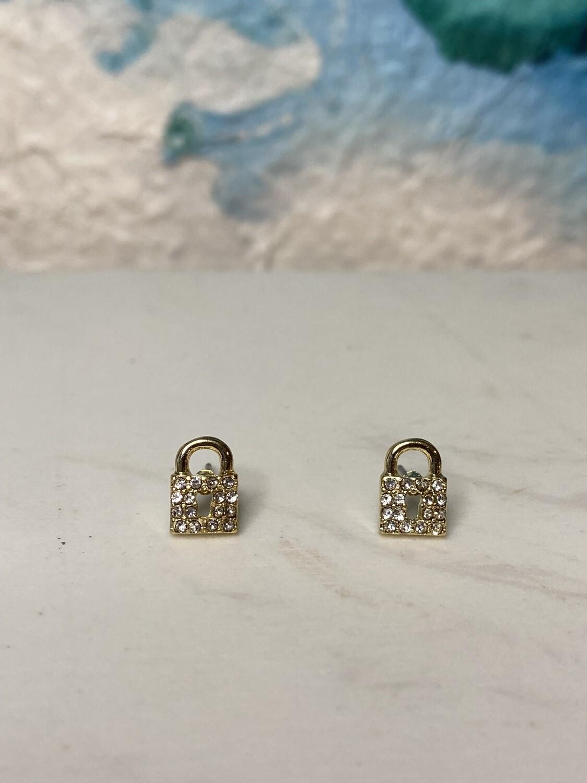 Pave Padlock Post Earrings