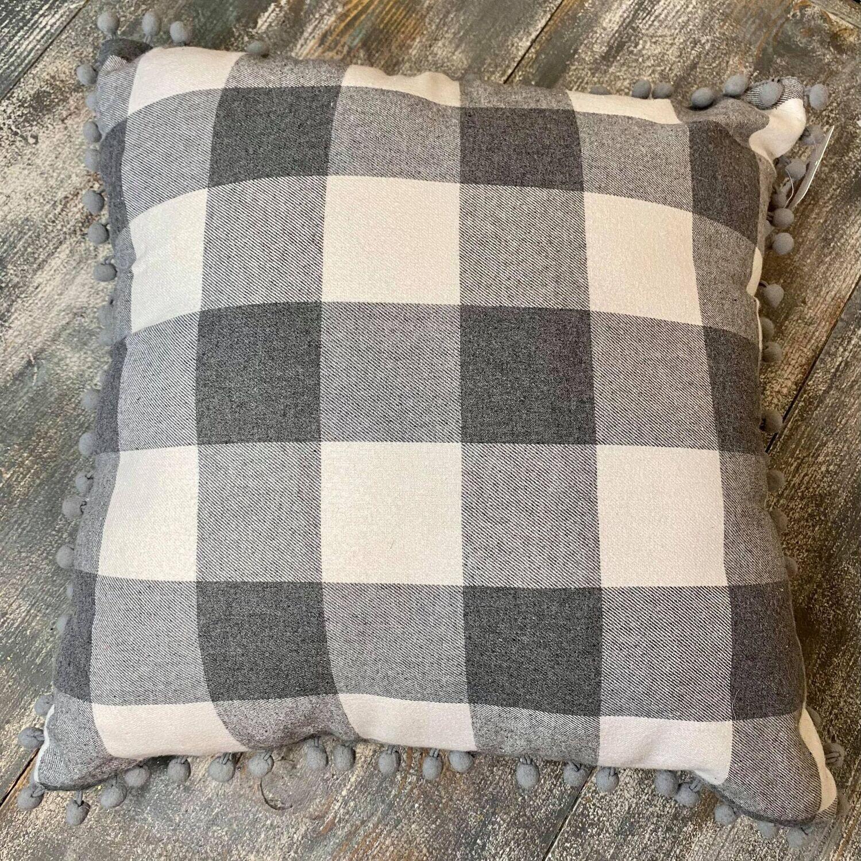 Grey Plaid Pillow