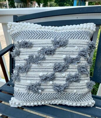 Grey Bubble Fringe Pillow