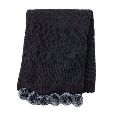 Knit Pom Pom Blanket