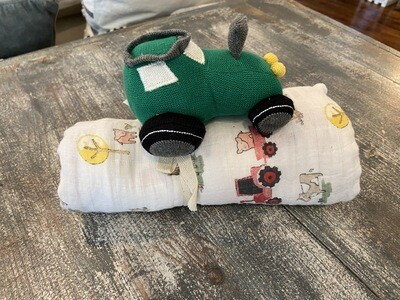 Tractor Rattle and Swaddle