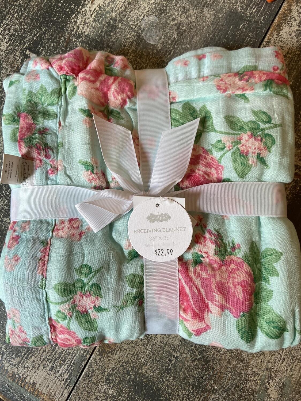 Floral Receiving Blanket