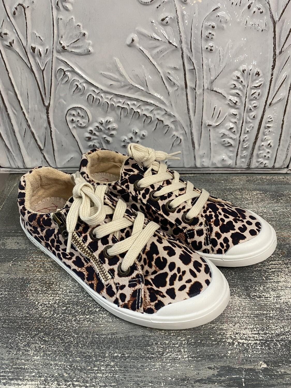 Cream Leopard Print Kids Shoe