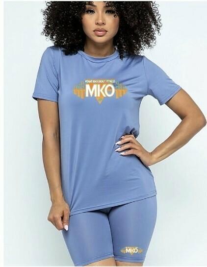 MKO Fitness Biker Short Set (Powder Blue)