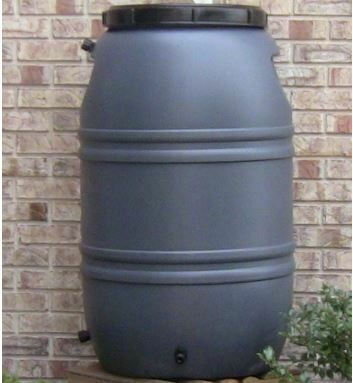 Upcycle Grey 55 Gallon Rain Barrel
