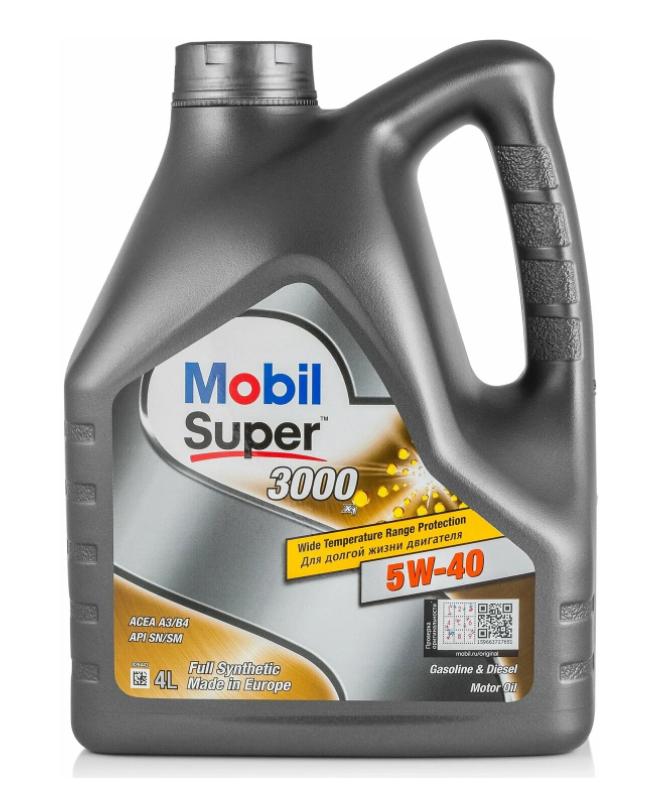 Синтетическое моторное масло MOBIL Super 3000 X1 5W-40, 4 л