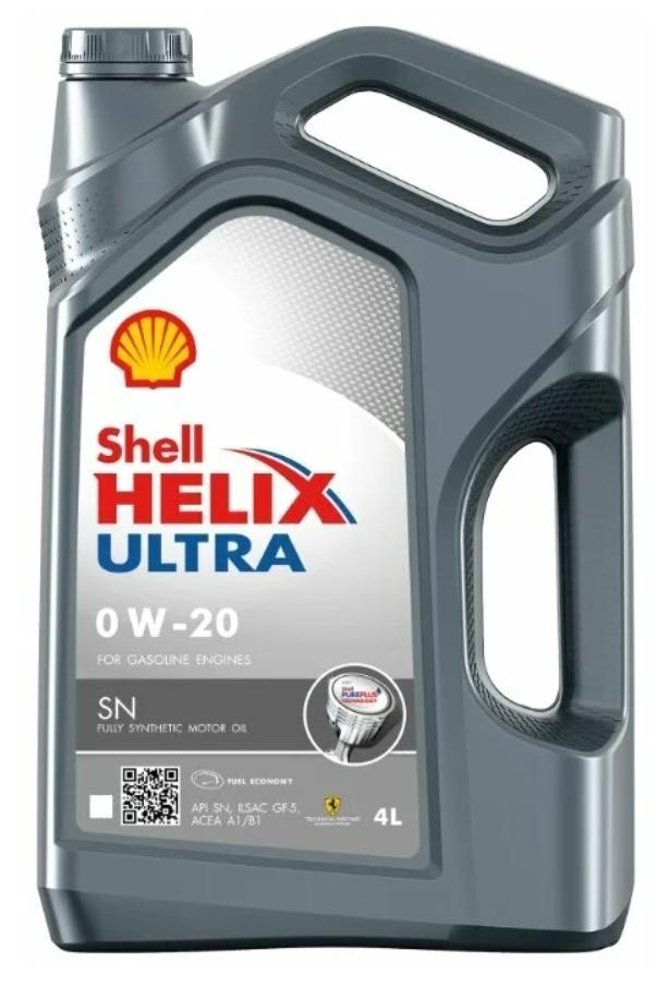 Моторное масло SHELL Helix Ultra SN 0W-20 синтетическое 4 л