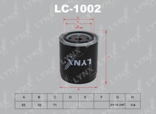 Фильтр масляный LYNXauto LC-1002