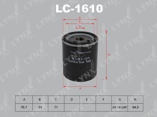 Фильтр масляный LYNXauto LC-1610