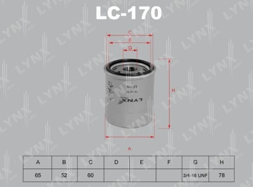 Фильтр масляный LYNXauto LC-170