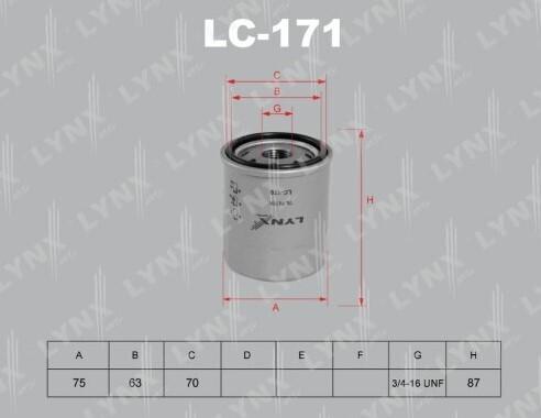 Фильтр масляный LYNXauto LC-171