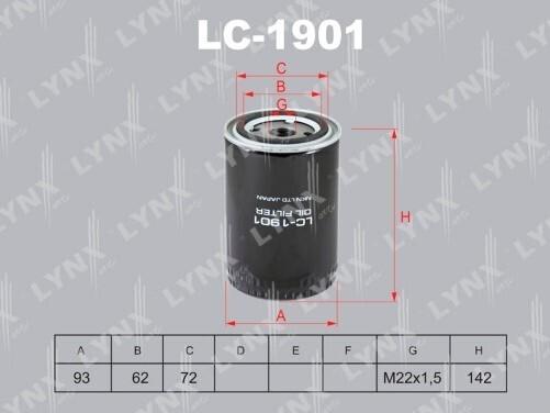 Фильтр масляный LYNXauto LC-1901