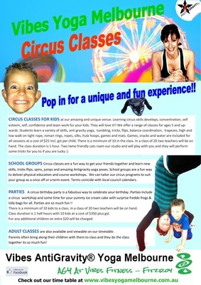 Kids Circus Fitness, Parties and classes. Email to find out more, view the studio and book a party.