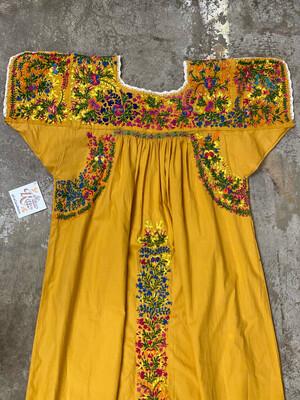 Vintage, Hand-Embroidered Mexican Huipil Dress