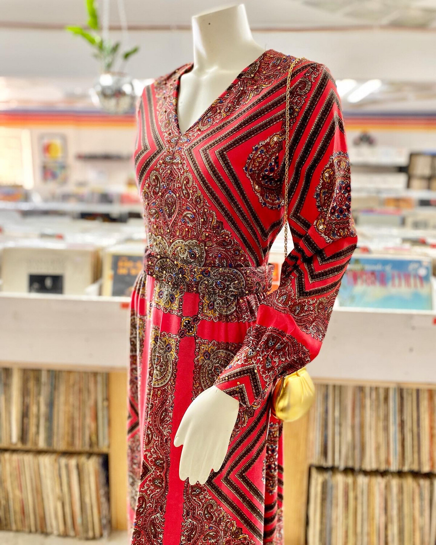 70s Julie Francis/Bernie Bee Long Sleeve Maxi Dress