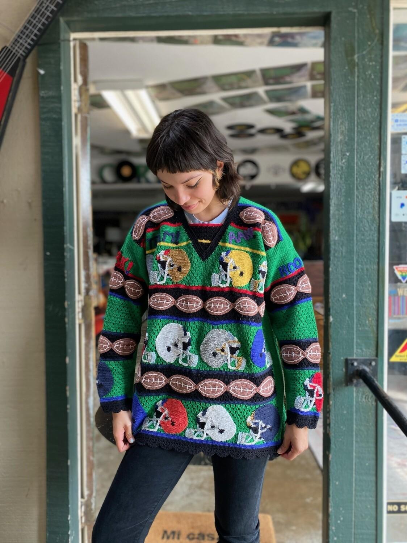 Vintage Knit Football Sweater