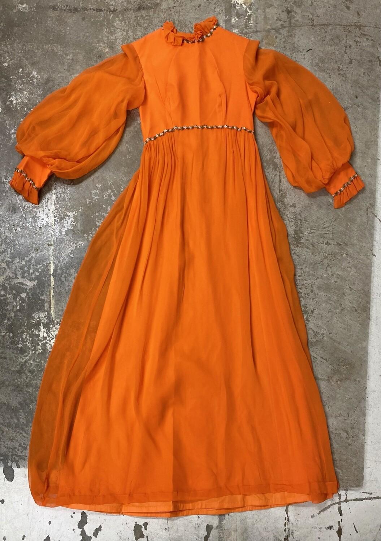 Late 60's Orange Vintage Retro Prairie Chiffon Dress