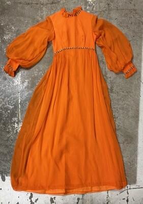 Late 60s Orange Vintage Retro Prairie Chiffon Dress