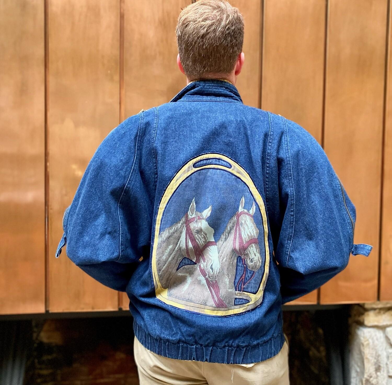 80's Puffy Denim Jacket W/ Horses
