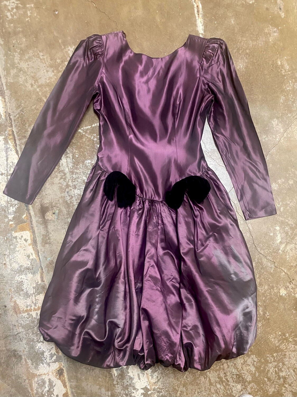 80s Plum Tafetta Bubble Dress (Huey Waltzer for Darcy)